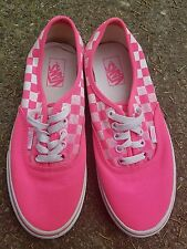 Vans Authentic Canvas Low Faded Checkered Print - Neon Pink - Men 8/Womens 9.5