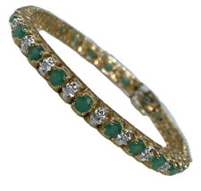 "Emerald Diamond 10K Yellow Gold Tennis Bracelet 7"" by Gordons Jewelers"