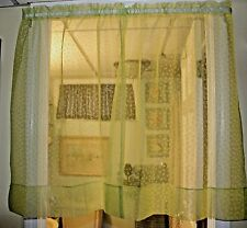 """New listing Vintage Beauty & Performance Sheer Curtains of Dacron Green white bows 36"""" Tier"""