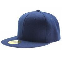 SNAPBACK CAP BLACK  BASEBALL HIP HOP ERA FITTED FLAT PEAK HAT (INT)