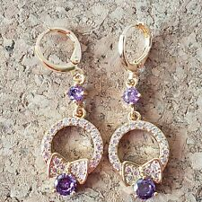 Dreamy gold filled purple & white CZ bow knot style dangle earrings