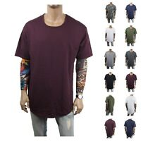 Men's Extended Long T-Shirt Elongated Fashion Tee Casual Basic Hipster Camo Tee