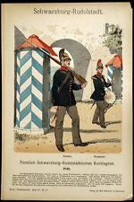Soldat garde Schwarzburg Rudolstadt Knotel Gravure Militaria Costume Militaire