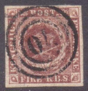 "DENMARK  NUMERAL  POSTMARK / CANCEL  ""70""   SVENDBORG  on fine 1854 FIRE R.B.S"