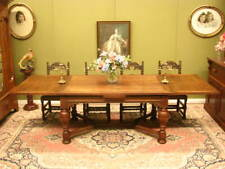 VINTAGE FRENCH OAK EXTENSION DRAW LEAF DINING TABLE ~ GREAT CHARACTER, SEATS 10