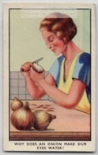 Why Peeling Onions Makes You Cry Tears 1930s Ad Trade Card