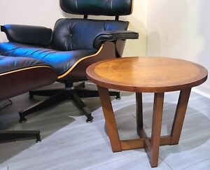 MID-CENTURY LANE END TABLE PEARSALL STYLE RHYTHM DRUM ROUND DANISH MODERN 1971