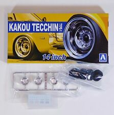"Aoshima 1/24 Kakou Tecchin Type-1 14"" Wheel Set For Plastic Models 5323 (30)"