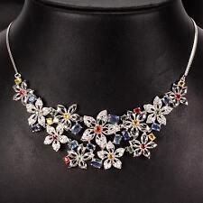 """Collier """"Blütenmeer"""" Saphir bunt & CZ 925 Silber 585 Weißgold"""