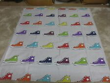 Retro sneakers silver grey red blue craft remnant material fabric piece 95x95cm