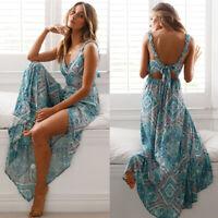 Beautiful Long  Boho Maxi Dress Summer Strappy V Neck Bandage Sleeveless Skirt
