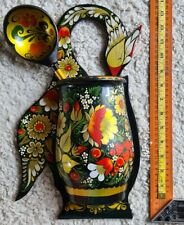 Antique Wooden Khokhloma Hohloma Russian Style wall box spoon Сrane