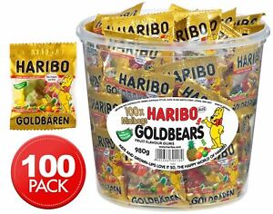 100 x Haribo Mini Gold Gummy Bears Candies 980g Assorted Fruit Box Mixed Candy