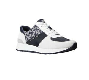 Michael Kors Women's Allie Trainer Tech Canvas Sneakers Shoes Navy/Opt White