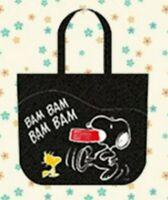 Brand New Genuine Snoopy Woodstock Peanuts Large Tote Bag Black Dark Gray Japan
