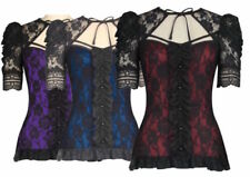 Polyester Patternless Gothic Tops & Shirts for Women