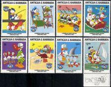 Antigua 1984 Disney/Donald 50th/Christmas/Cartoons/Animation/Sailing 8v (b2033s)