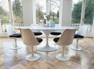 200cm x 120cm White Laminate Oval Tulip Style Table & 6 Tulip Style Side Chairs