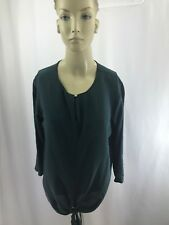 Club Monaco Women's Dark Green 3/4 Sleeve Career Blouse Sz S/P 100% Silk