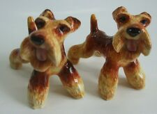 *Lots 2 Blue Witch Handmade Ceramic Airedale Terrier Salt and Pepper Shaker Sets