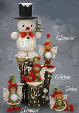 Ceramic Bisque Ready to Paint Joy Snowman Small Stump and Fairies electric incl.