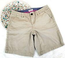 Merona Womens Shorts Size 2 Beige Khaki Chino Bermuda Flat Front Low Rise o1256