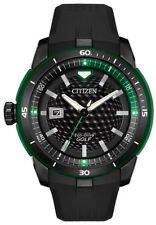 Citizen Golf Eco-Drive Ecosphere Men's Green Accents Black 47mm Watch AW1505-03E