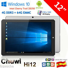"12"" Chuwi Hi12 Tablet PC Win10/Android 5.1 QuadCore 4GB/64GB Dual Cámara 3G WiFi"