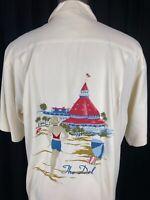 KAHALA Hotel Del Coronado The Del 100% Silk Embroidered Hawaiian Shirt Medium M