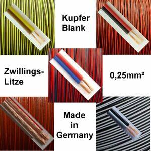 Kabel 0,25mm² Rot Schwarz Braun Gelb Schwarz Weiß Zwillingslitze 2-adrig