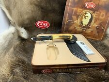 Case 524-1/4 White Tail Knife With Stag Handles & Basketweave Sheath Mint In Tin