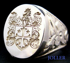 ANTIQUE SIGNET RING FAMILY CREST CUSTOM ENGRAVED SILVER XL 18MM X 15MM BY JOLLER