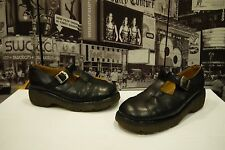 Doc Dr Martens Mary Jane Black Buckle Shoes Women US 8 Made In England 8366 VG