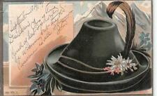 GENEVE SWITZERLAND TO USA MOUNTAIN HAT EMBOSSED POSTCARD 1903