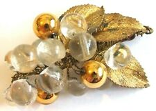 Glass Beads Grapevine Design Brooch Antique Edwardian 1900s Goldtone & Clear