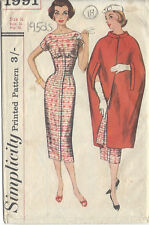 "1957 Vintage Sewing Pattern DRESS & CAPE B36""-S16 (18)"