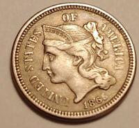 1865 Three Cent Nickel-Civil War Date-Very Nice Coin-#2
