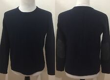 RAG & BONE MEN's Sweater 100% Wool Elbow Patches Blue Small View Measurements
