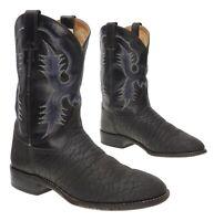 Vtg TONY LAMA Cowboy Boots 10 D Mens BULLHIDE Leather Western Cowboy Rodeo Boots