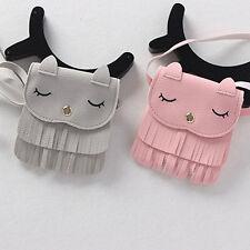 New Lovely Kids Girls PU Leather Tassel Small Cat Shoulder Messenger Bag Purses