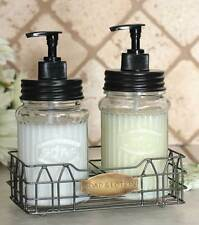 Vintage Shabby Chic Hoosier Jar Large Lotion Soap Dispenser with Wire Caddy Set