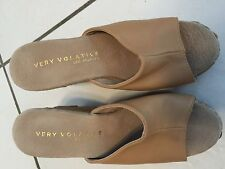 """Shoes, Womens,  4 1/2""""T  embroidered flowered wedge, tan leather open toe, SZ7M"""