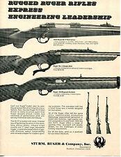 1969 Print Ad of Sturm Ruger M/77, No1 Single Shot & 44 Magnum Carbine Rifle