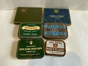 Bundle Of 6 Vintage Tobacco & Cigarette Metal Tins Churchman's Players & More