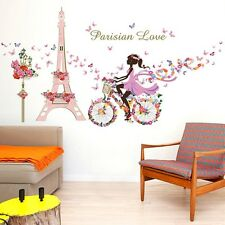 Bicycle Girl Romantic Paris Cartoon for kids rooms Removable Mural Decorations