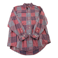 Brooks Brothers Button Up Shirt Adult Large Red White Blue Plaid Casual Men