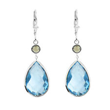 14K White Gold Earrings with Pear Shape Blue Topaz and Round Smoky Topaz