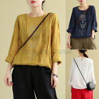 ZANZEA Womens Blouse Printed Casual Loose T Shirt Tee CrewNeck Short Sleeve Tops