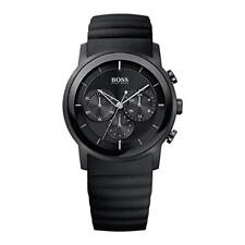 BRAND NEW HUGO BOSS BLACK ION PLATED CHRONO SILICON STRAP MEN WATCH HB1512639