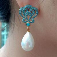 White Teardrop Sea Shell Pearl Gold Plated Turquoise Blue Cz Drop Stud Earrings